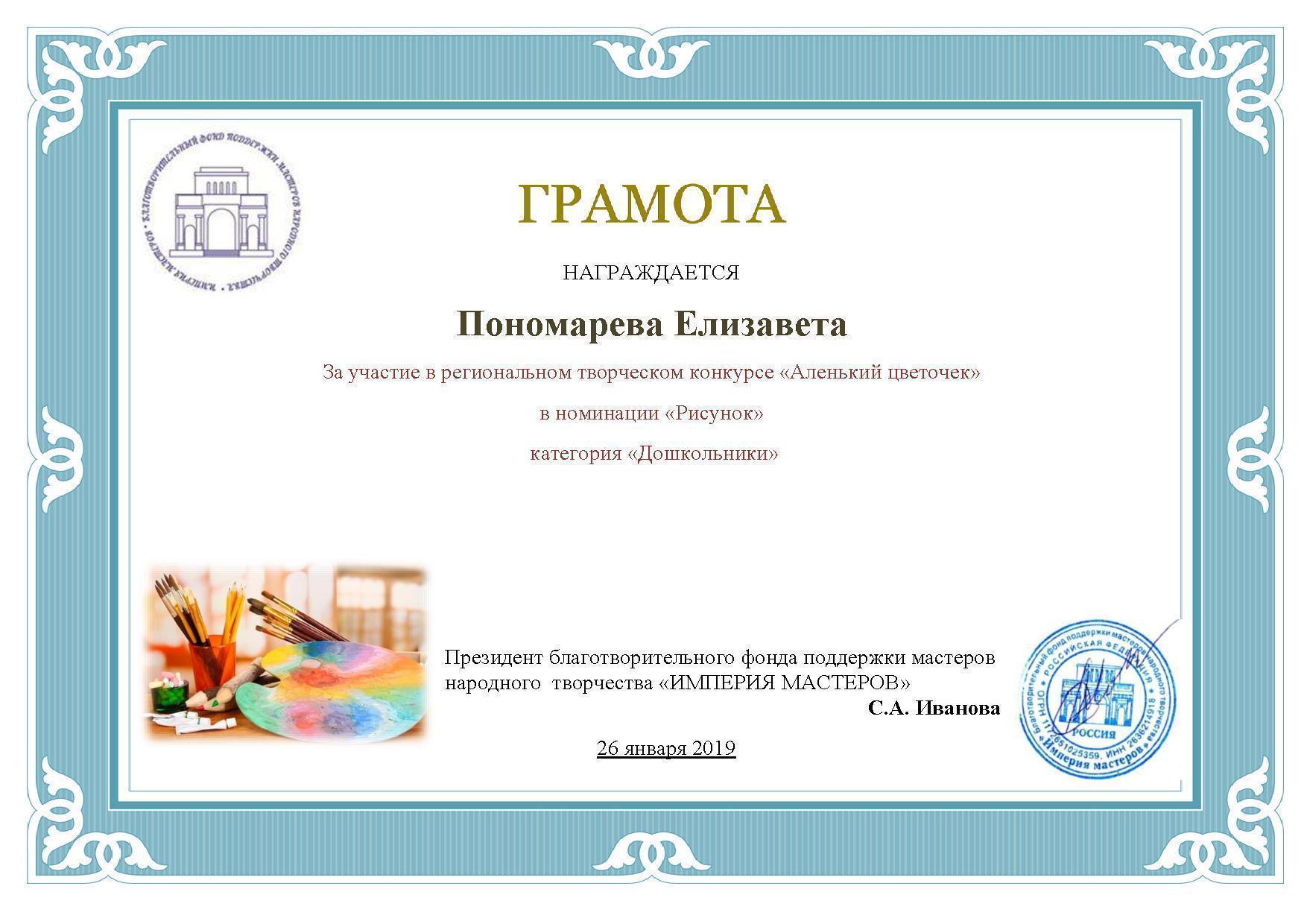 Пономарева Елизавета